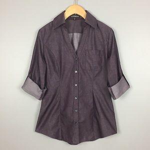 Express Feminine Cut Chambray Tailored Shirt